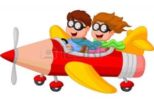 33367784-nino-y-nina-en-un-avion-de-lapiz-de-dibujos-animados